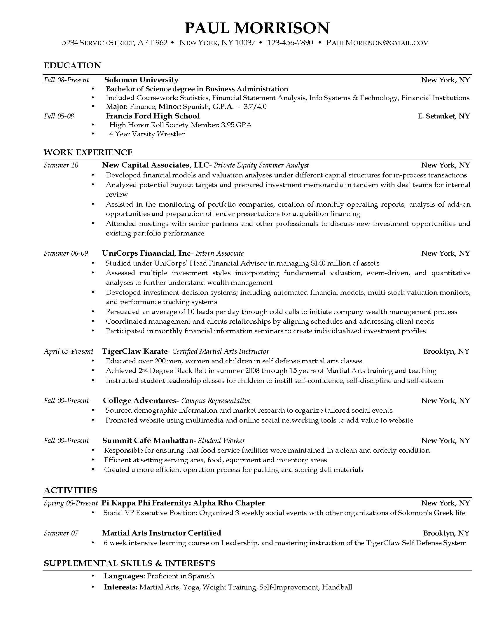 Attractive Sample Curriculum Vitae Resume Examples To College Student Resume Samples