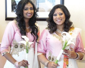 Bridesmaids Dressed in Saris and Decorated with Henna