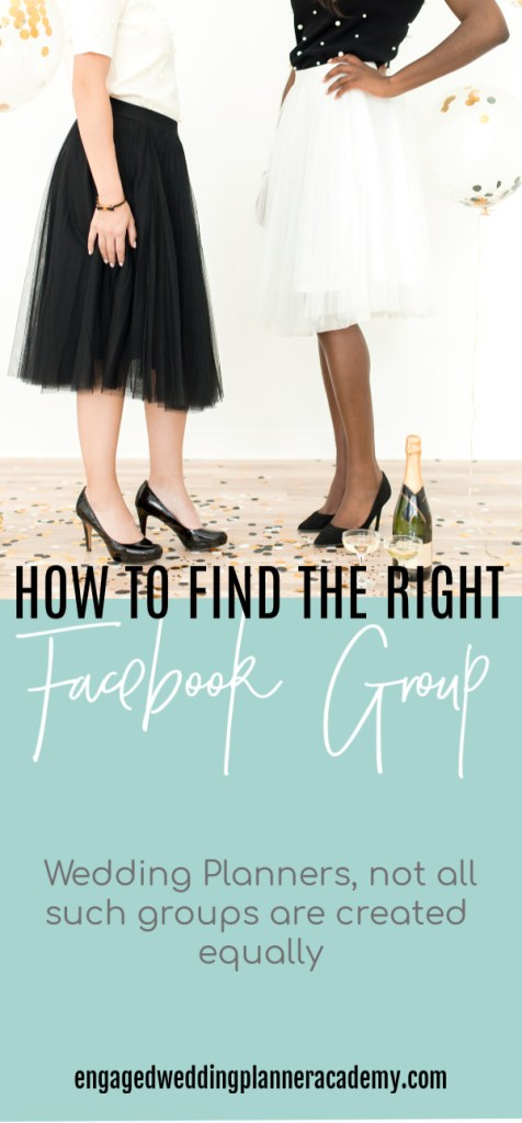If you're new to wedding planning, here are some tips for finding the right wedding planner Facebook group for you. 	Event Planner, event planning course, how to become a wedding planner, social media, Wedding Business, Wedding career, wedding planner business, Wedding Planner Class, Wedding planner course, wedding planner education, Wedding Planner Facebook Group, Wedding Planner products, wedding planner tools