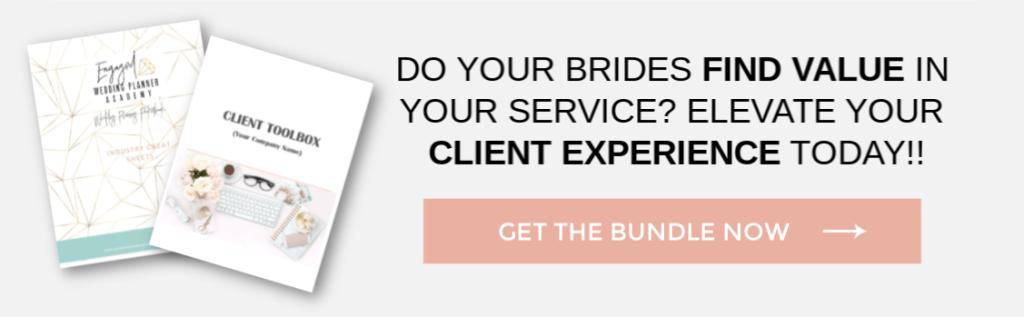 client value, wedding planner tools, wedding planner products, wedding planner tips