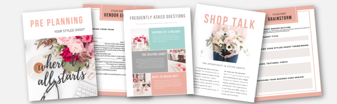 styled shoot workbook, styled shoot guide