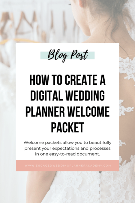 I'm sharing why you should provide a digital wedding planner welcome packet for your clients, tips on how to make one, and what information to include.   Digital Wedding Planner Welcome Packet, How to be a wedding planner, Wedding Business, wedding planner business, Wedding Planner Business Services, Wedding Planner products, wedding planner resources, wedding planner tools, Wedding Planner Welcome Packet