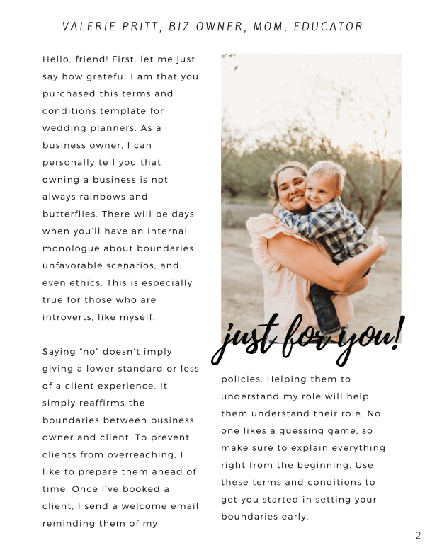 If you've been thinking over how to set boundaries as a wedding planner, then this wedding planner terms and conditions template has you covered.