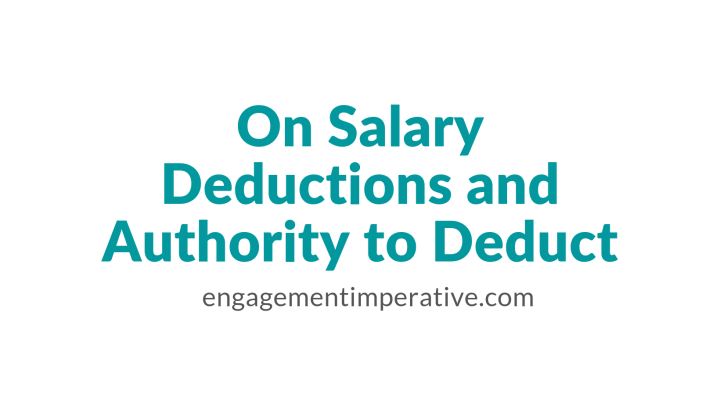 On Salary Deductions and Authority to Deduct