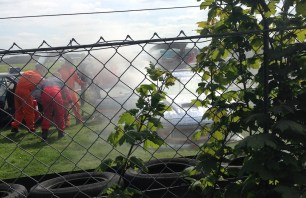 Up close; Ginetta continues to smoke despite work by marshals