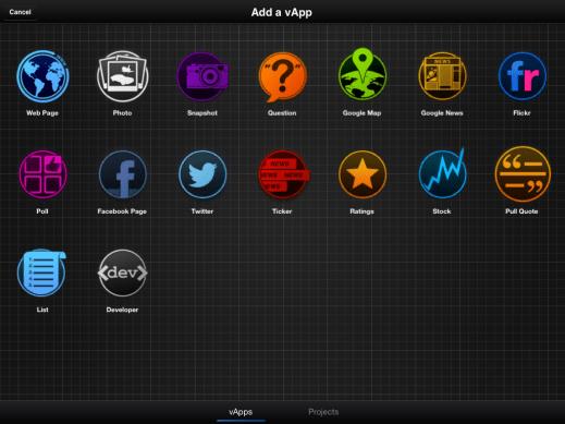 TouchCast's vApp Screen