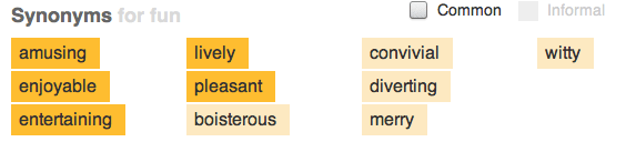 """The Woefully Boring Entry for """"Fun"""" at thesaurus.com"""