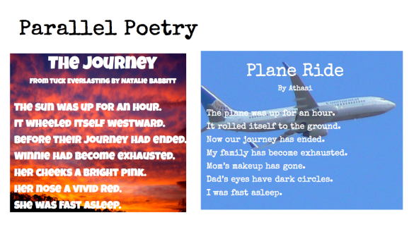 an example of Parallel Poetry done by one of my 4th grade students