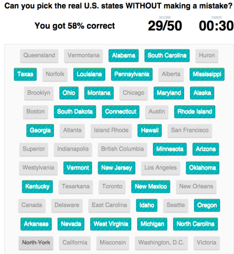 Pick the Real US States from Mental Floss
