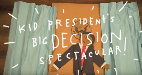"""screen shot from, """"Making Tough Choices with Kid President"""""""