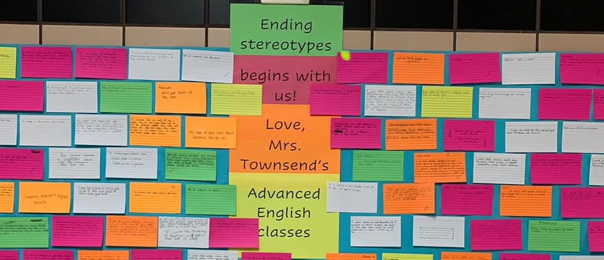 image of bulletin board with index cards that have common stereotypes