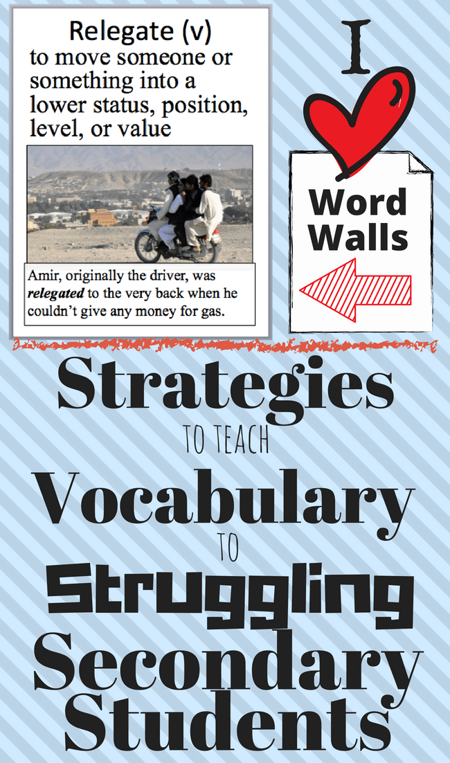 Ideas on how to teach vocabulary to secondary students who struggle. How to pace instruction, engage students, and increase retention. Perfect for standard and special education classes.
