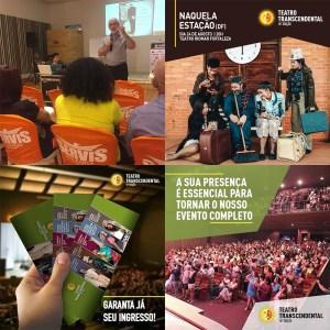 Exemplos de publicações nas redes sociais da Mostra de Teatro Transcendental