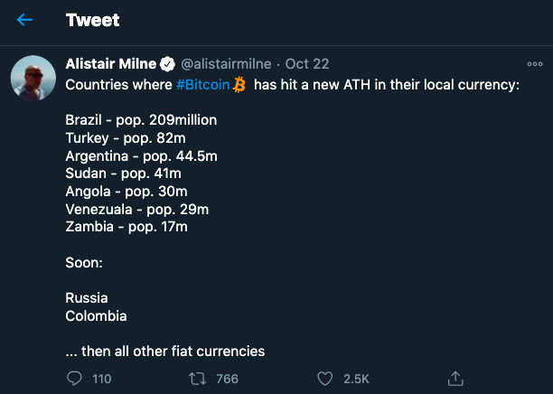 Bitcoin hit new ATH in 7 countries