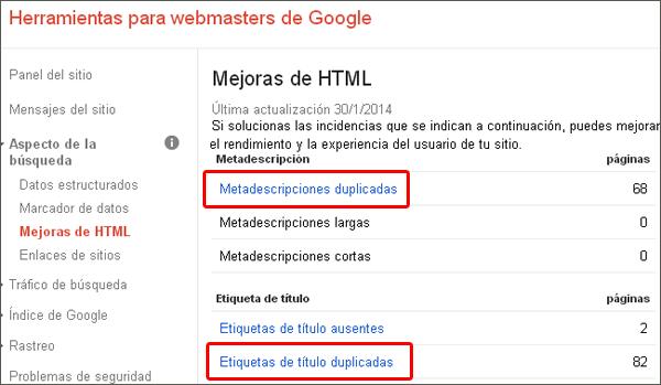 Detecta Meta-etiquetas repetidas con Webmaster tools.
