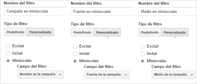 filtro minusculas