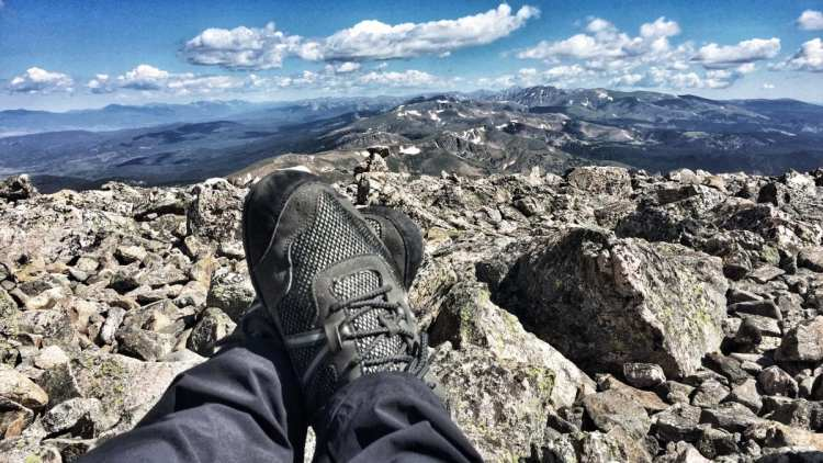 minimalist shoes Xero Terraflex chilling on top of James Peak, Colorado.
