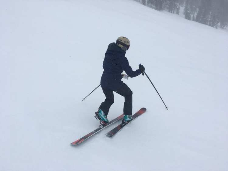 Bishop BMF/R Telemark Touring Binding review Engearment Eliza getting familiar with the binding
