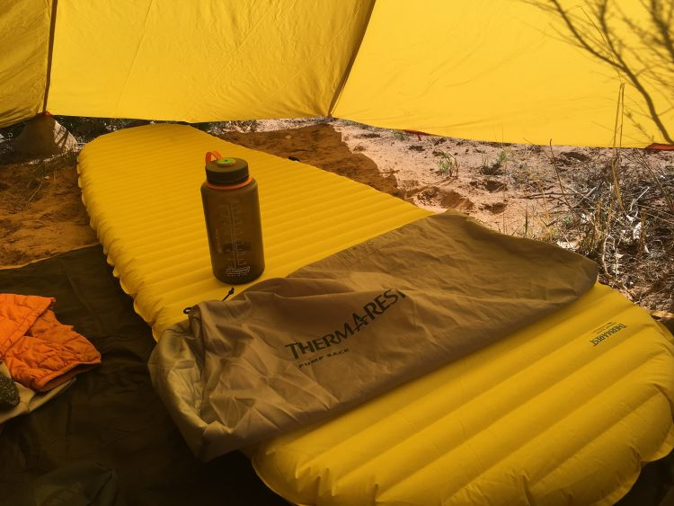 The Thermarest NeoAir XLite sleeping pad and pump sack