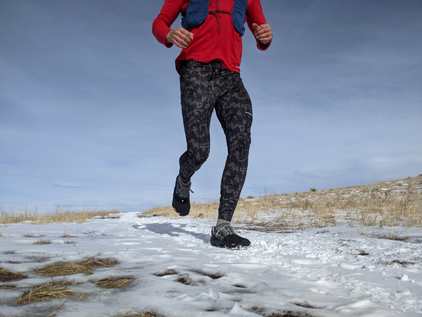 Patagonia Endless Run Tights I love the Endless Run tights for running in the snow. The stretchy fabric is soft, regulates my temperature well, and takes the sting out of the wind