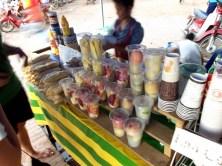 Eine besonders leckere Erfrischung sind die Fruitshakes, wie hier in Luang Prabang. Man kann sich das Obst und Gemüse auswählen, das in den Shake soll, eine richtige Vtaminbombe und absolut empfehlenswert!