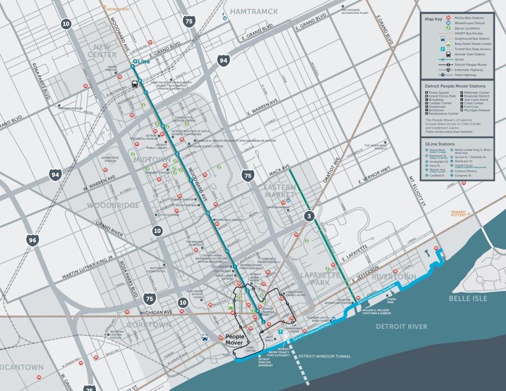 Mapa da cidade de Detroit com os modais de transportes e legenda no canto superior direito.