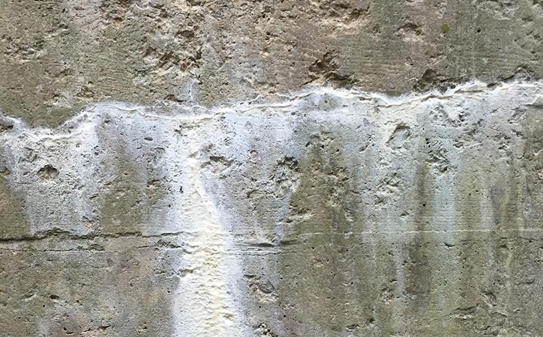 mancha branca de eflorescência em parede de concreto