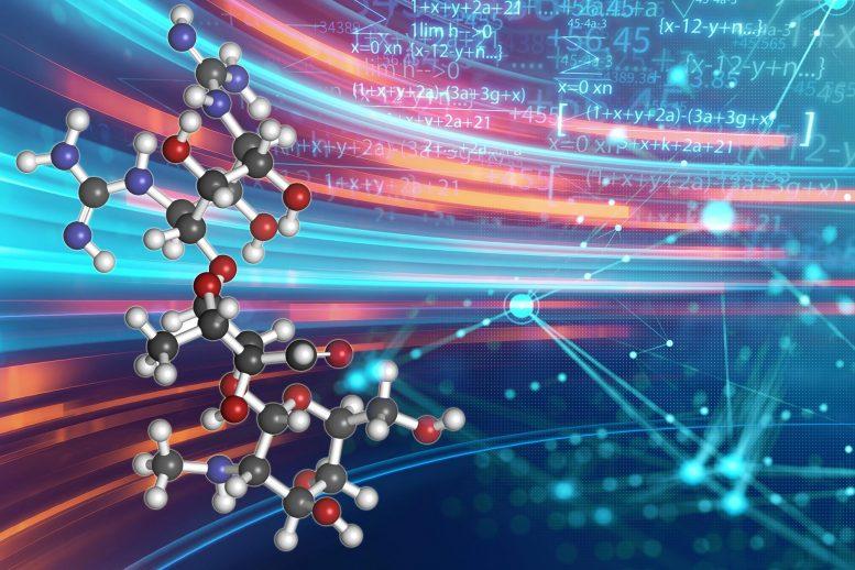 ilustracao de moleculas formando atomos a partir de algoritmos