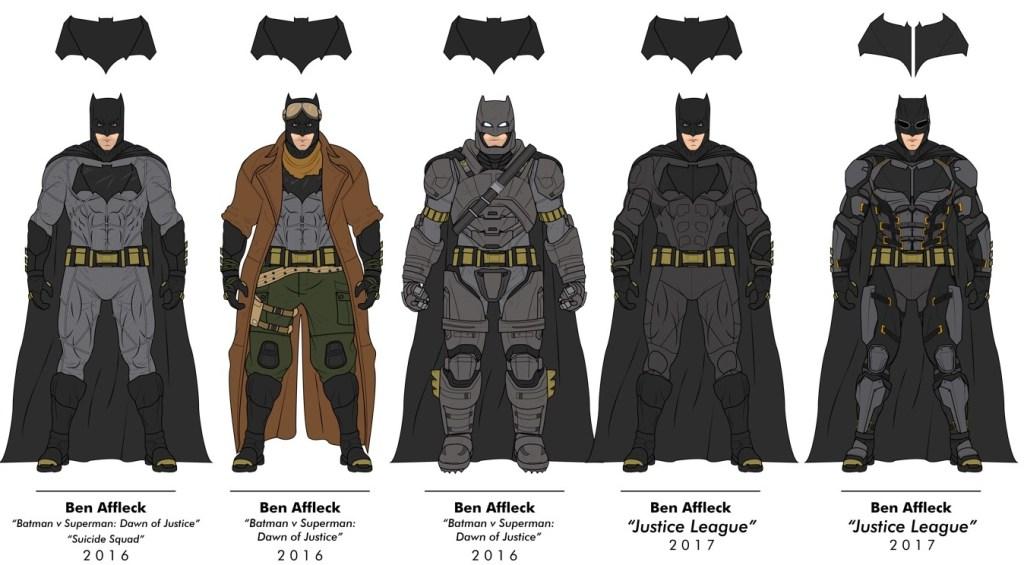 Cinco modelos de trajes do Batman, usados por Ben Affleck, lado a lado.