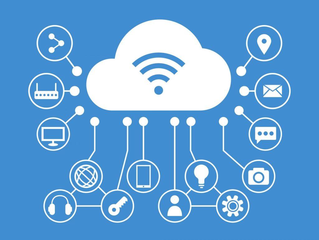 nuvem de wi-fi conectada a outros elementos digitais, internet das coisas