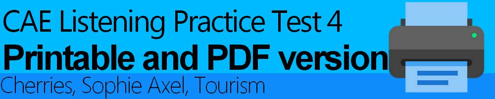 CAE Listening Practice Test 4 Printable and PDF version