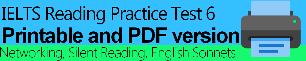 IELTS Reading Practice Test 6 Printable and PDF version