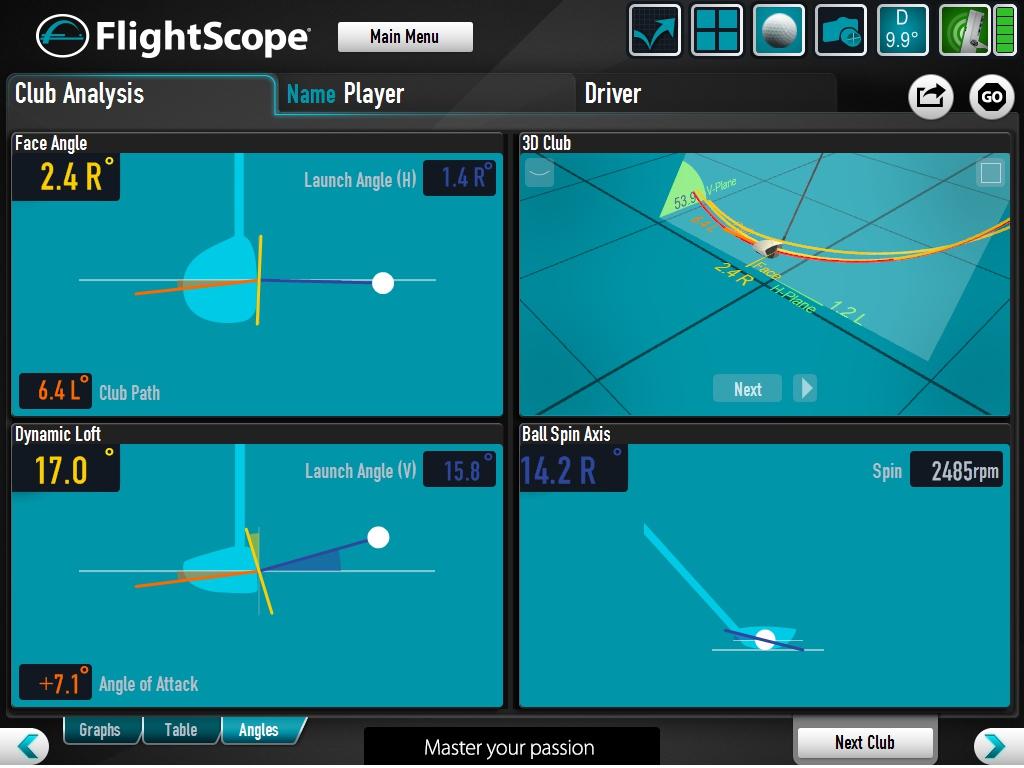 Flightscope club path image