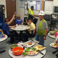 AIN Plastics and everyone with tk One Source enjoy lunch for World Health and Safety Day
