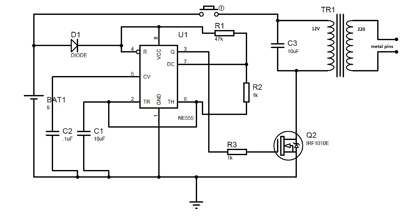 Circuit Diagram 555 Timer Wiring Library The Bistable Multivibrator You Can Find Circuits Teaser Gun Using Ic