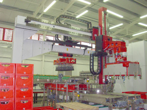Güdel's gantry robot system provided a compact, flexible and high-speed solution to the handling of bottles and crates for a major European brewery