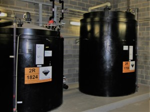 Bulk chemical storage tanks for acid and caustic storage