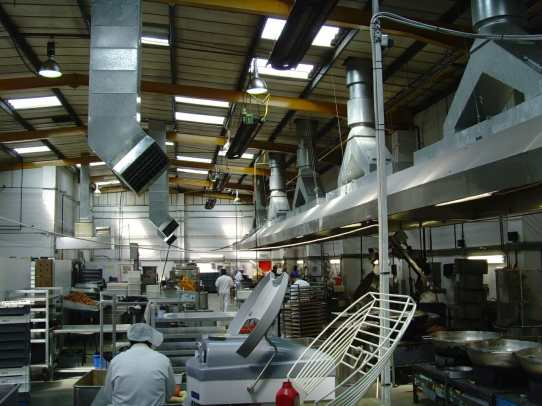 Spot cooling a food production facility