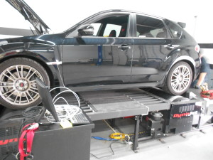 2010 Subaru STI on the dyno