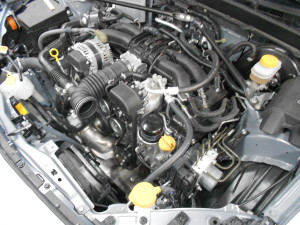FR-S stock engine bay with intake removed