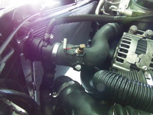 Mishimoto radiator installed with temperature sensors