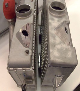 Comparison of stock end tank (left) vs. Mishimoto end tank