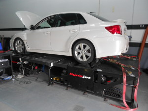 WRX test vehicle on the Dynojet