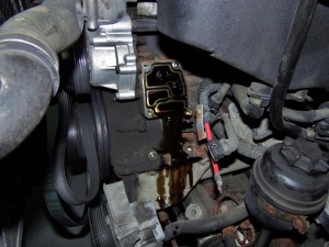 Stock E46 M3 oil filter housing removed