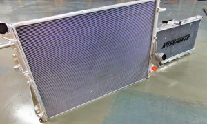 Mishimoto 6.7L Size comparison of Powerstroke prototype radiator (left) and Subaru WRX aluminum radiator