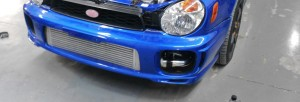 Mishimoto prototype intercooler installed on Bugeye