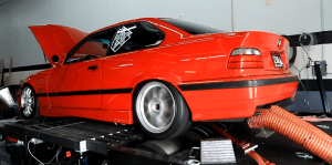 E36 M3 test vehicle on dyno