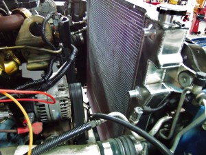 Mishimoto 6.7L Cummins radiator prototype installed