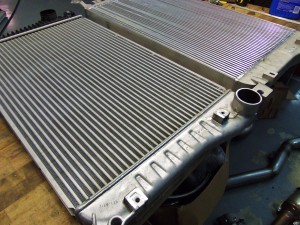 Mishimoto prototype LML Duramax intercooler (right) and factory intercooler (left)