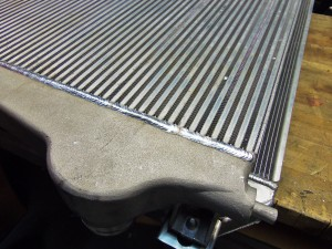 Mishimoto prototype LML Duramax intercooler, showing weld
